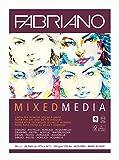 Unbekannt Fabriano Mixed Media-Bloc de papel para artistas, DIN A3, 40 hojas de 250 g/m², adecuado para técnicas de pintura en seco y húmedo, Blanco