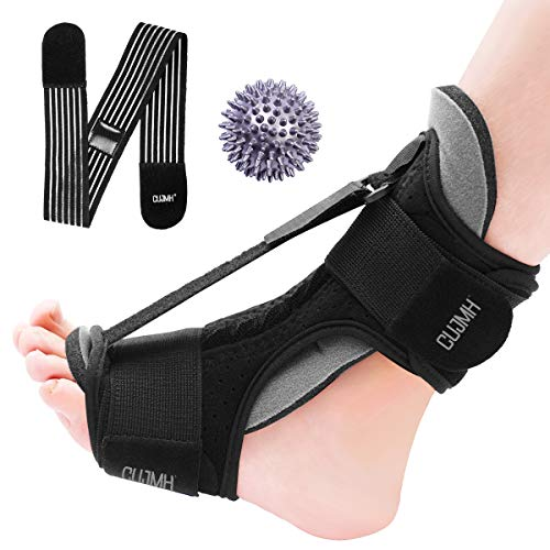 Plantar Fasciitis Splint Foot Night Orthotic Brace Dorsal Night Splint for Plantar Fasciitis Achilles Tendonitis Heel and Ankle Pain with Massage Ball Elastic Traction Belt
