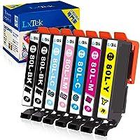 【LxTek】Epson用 エプソン対応 互換インク IC6CL80L 7本セット(6色セット+黒1本) とうもろこし インク IC80L ICBK80『互換インク/2年保証/大容量/説明書付/残量表示/個包装』対応機種:EP-982A3...