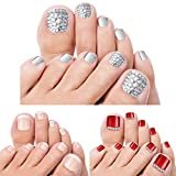 press on toenails - 72 Pcs False Toe Nail Full Cover Fake Art Toe Nail Bling Rhinestone Artificial Fake Toe Nail Square Short French Acrylic Glue on Toe Nail Tip for Women Bridal Girl, 3 Styles, Sliver, Red, Light Pink