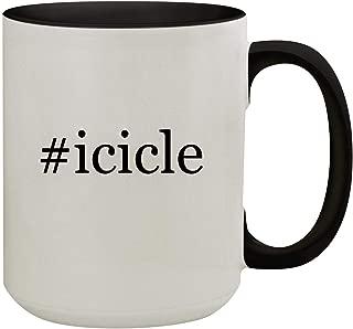 #icicle - 15oz Hashtag Colored Inner & Handle Ceramic Coffee Mug, Black
