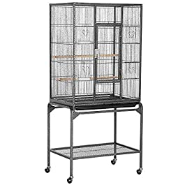 Yaheetech 136.5cm Large Rolling Metal Parrot Small Animals Cage for Pet Bird Conures Parakeets Cockatiels with Detachable Stand