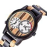 yuyan Reloj de Madera Diseño de Doble Zona de diseño de Madera Reloj de Madera Movimiento de Cuarzo japonés Hecho a Mano Casual Business Women's Reloj Deportivo Menores de Hombres Reloj de Madera