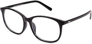 Cyxus(シクサズ)ブルーライトカットメガネ [透明レンズ] オーバーサイズ pcメガネ UVカット パソコン用メガネ 紫外線カット 視力保護 輻射防止 目の疲れを緩和 肌に優しい 睡眠改善 ファッション 復古 男女兼用(ブラック)