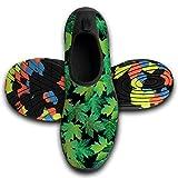 TA-TA FROG Womens Mens Water Sports Shoes Barefoot Quick-Dry Aqua Socks for Yoga Beach Swim Surf Green Leaves