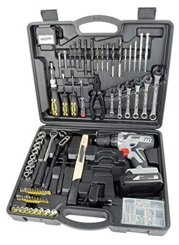 Brüder Mannesmann Werkzeuge M17575 Maletín de herramientas de 75 piezas con taladro inalámbrico de 20 V
