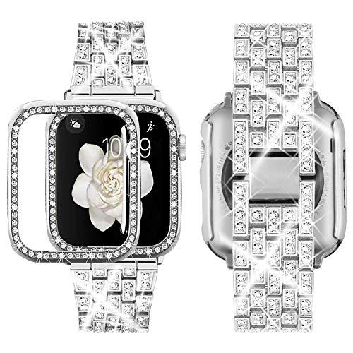 Supoix - Correa de Repuesto para Apple Watch (38 mm, 40 mm, 42 mm, 44 mm, Incluye Funda), diseño de Diamantes de imitación