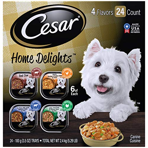CESAR HOME DELIGHTS Soft Wet Dog Food Pot Roast & Vegetable, Beef Stew, Turkey Potato & Green Bean, and Hearth Chicken & Noodle Variety Pack, (24) 3.5 oz. Easy Peel Trays