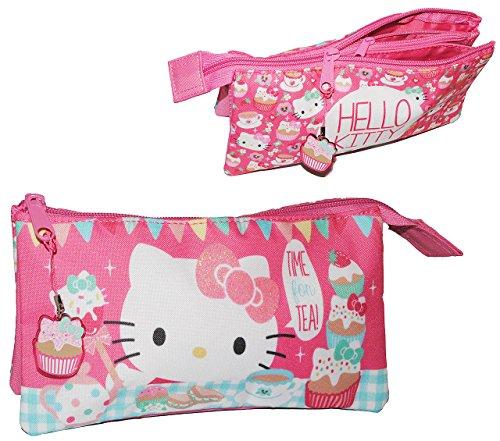 alles-meine.de GmbH 2 in 1: Federmappe / Kosmetiktasche - 3 Fächer - Hello Kitty - Faulenzer / Schlamper Etui Kinder Schlampermäpchen Federtasche Schlamperrolle - Mädchen Katze