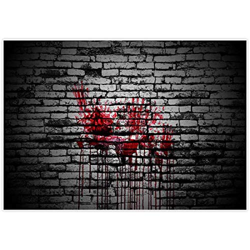 Allenjoy 7x5ft Bloody Brick Wall Backdrop for Halloween Portrait Photography Backdops Background Vintage Splatter Dripping Blood Dark Horror Scary Pictures Party Decorations Decor Photo Studio Booth