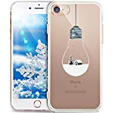 Coque iPhone 6S,Coque iPhone 6,ikasus Cerf de flocon de neige de Noël blanc Christmas Snowflake motif Clear Transparent Silicone Gel TPU Case Coque Housse Etui pour iPhone 6S/6,Paysage neige ampoule