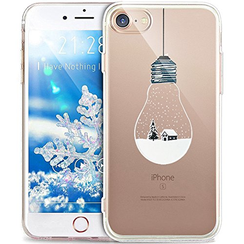 Cover iPhone 8,Cover iPhone 7,ikasus Serie pittura natalizia fiocco neve Snowflake Ultra Sottile Trasparente Morbida TPU Silicone Gel Custodia Case Cover per iPhone 8/7,Bulbo Paesaggio Neve