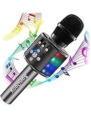 【2019進化版】 カラオケマイク bluetooth ポータブルスピーカー ブルートゥース ワイヤレスマイク 高音質 音楽再生 ノイズキャンセリング LEDライト付き 大容量 2800mAh Android/iPhoneに対応 (ブラック)