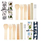 4 Set Bamboo Cutlery Set Bamboo Travel Utensils Set, Reusable Bamboo Utensil Fork Knife Spoon Chopsticks Straw Cleaning Brush with Carrying Bag for Travel Picnic Office School
