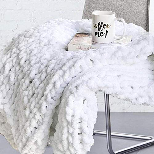 clootess Chunky Knit Blanket Chenille Throw - Warm Soft Cozy for Sofa Bed Boho Home Decor (White 40x60 in)