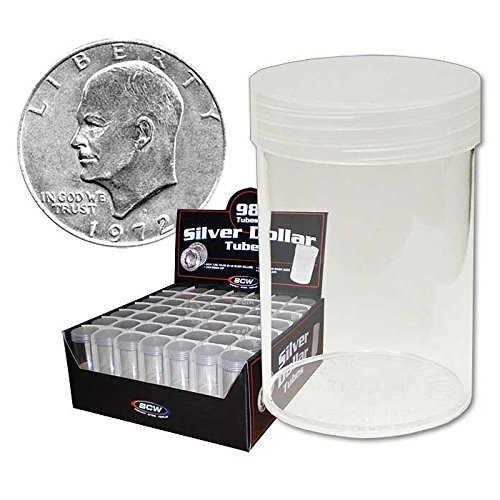 (20) BCW Brand Round Clear Plastic (Large Dollars) Size Coin Storage Tube Holders with Screw on Lid