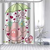 Schwein Duschvorhang Polyester Stoff Badvorhang wasserdicht mit Haken für Badezimmer 180 × 180 cm