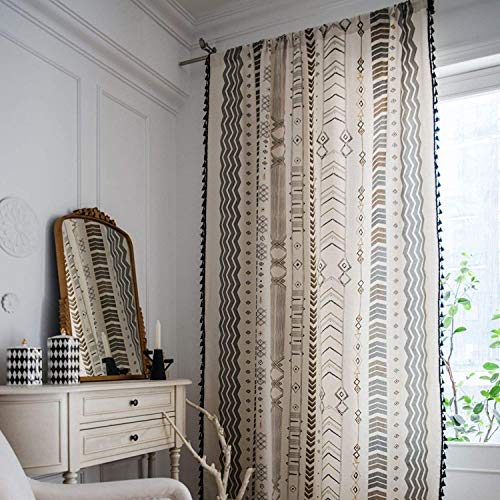 Boho Window Curtain Panel with Tassels Black Arrow Geometric Print Country Style Cotton Linen Room Darkening Curtain Panel for Bedroom Living Room Rod Pocket Top