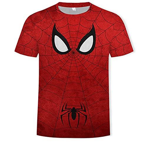 Ropa de gimnasia para hombres Avengers Spiderman Camiseta gráfica con cuello redondo, para chicos, para el hogar o el gimnasio Spiderman Kids Top, niño pequeño a adolescente, idea de regalo d(Size:XS)