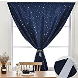 Nursery Curtains Blackout Boys Bedroom Navy Stars Room Darkening Window Treatments Self-Adhesive Thermal Insulated Drapes Kids Space Themed Light Blocking Curtain 1 Panel W78 x 78 Inch Length