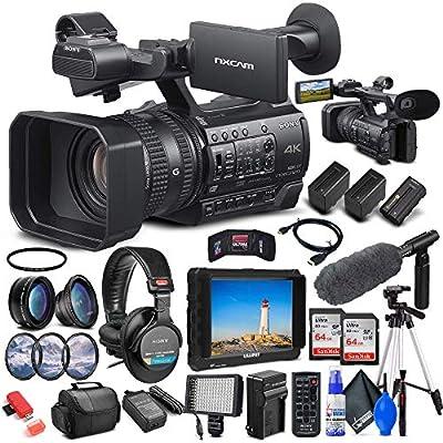 Sony HXR-NX200 Full HD NXCAM Camcorder PAL (HXR-NX200) + 4K Monitor + Pro Headphones + Pro Mic + 2 x Sandisk Ultra 64GB Card + Pro Tripod + 2 x NPF970 Battery + LED Light + Pro Case + More (Renewed) by Sony