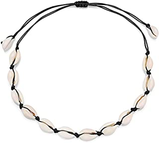 GerTong - Collar de concha natural, 1 unidad, ajustable, bohemio, cowrie, concha, chai, hecho a mano, con cuentas de mar para niñas y mujeres, 75 – 78 cm, negro, 75-78 cm