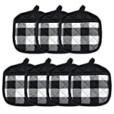 HaiMay 7 Pieces Buffalo Check Plaid Pot Holders for Kitchen Oven Mitts, Machine Washable and Heat Resistant Hot Pad with Pocket, Cotton Lattice Black and White, 7.6 x 7.6 Inches