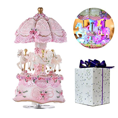 ACCOCO Carousel Music Box Luxury Color Change LED Light Luminous Rotating 3-Horse Carousel Horse Music Box Melody Carrying You from Castle in The Sky(Castle in The Sky, Pink)