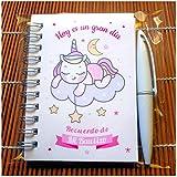 Recuerdos, Detalles y Regalos Para Invitados Bautizo Niña Originales - Baby Shower - Unicornios - Libretas Bautizos con Mini Bolígrafo - Pack 30 Unidades - ¡Gustará a Todos!