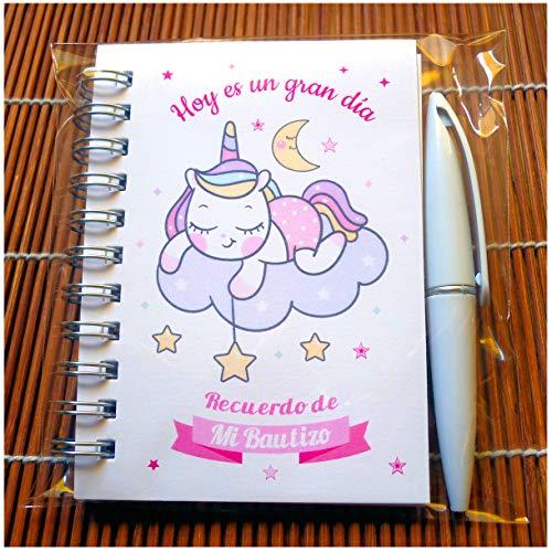 Recuerdos, Detalles y Regalos Para Invitados Bautizo Niña Originales - Baby Shower - Unicornios - Libretas Bautizos con Mini Bolígrafo - Pack 15 Unidades - ¡Gustará a Todos!