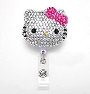 LOVEKITTY - 3D Hello Cutie Blinged Out Hot Pink Bow Kitty Inspired Rhinestone Badge Reel/Name Badges/ID Badge Holder