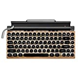 LINGLANG Retro Typewriter Mechanical Keyboard - Durable Dot Retro Keyboard Punk Keycap, USB Wired & Bluetooth Wireless Keyboard, with Tablet Stand for Phone and Pad, Connection Up to 3 Devices (Wood)