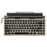 Joenbenipz - Tastiera impermeabile per macchina da scrivere in legno, con poggiapolsi, tastiera Steampunk mobile con Bluetooth 83 tasti, senza fili, tasti illuminati, look vintage