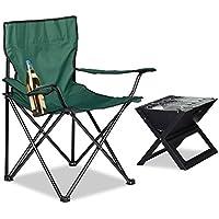Relaxdays, Verde Silla Camping Plegable Acolchada con Reposabrazos, Soporte para Bebidas y Bolsa de Transporte, Acero y Poliéster