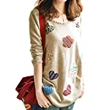 Diamondo Women Fresh Hearts Flowers Print Blouse Round Neck Top Shirts (Asian XL)