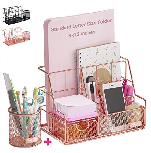 Orgowise Mesh Desk Organizers and Accessories Set Rose Gold Desktop Organizer with Pen Holder and Paper File Organizer for Real Desk Organization Cute Office Supplies Storage for Kids and Adults