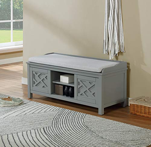 Alaterre Furniture Coventry 45 W Wood Storage Bench with Cushion Gray