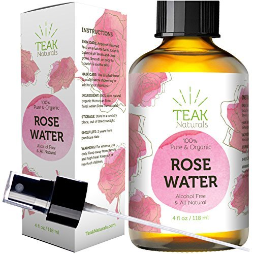 24K Gold Rose Water Toner by Teak Naturals - 24 Carat Organic Natural Moroccan Rosewater (Chemical Free) - 4 Ounce (4 oz) 24 CT Gold Line Series