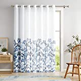 """Metro Parlor Blue Navy Window Door Curtain 100-inch Extra Wide Semi Sheer Patio Sliding Glass Door Panel, Floral Patterned on White Linen Texture Drape with Grommets, 84"""" Length 1 Pack"""