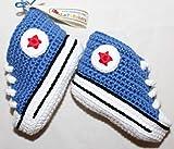Patucos para bebé de crochet, Unisex. Estilo converse all star, de color azul...