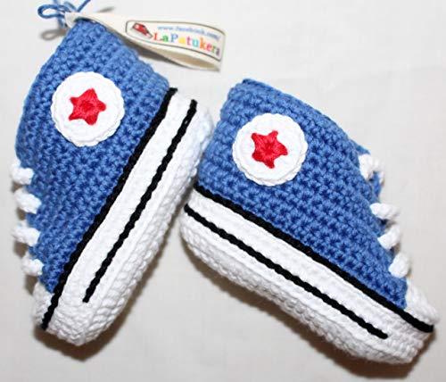 Patucos para bebé de crochet, Unisex. Estilo converse all star, de color...