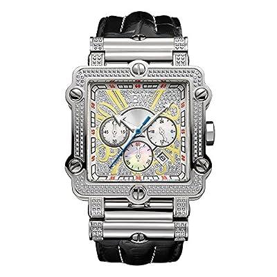 JBW Luxury Men's Phantom 2.38 ctw Diamond Wrist Watch with Leather Bracelet