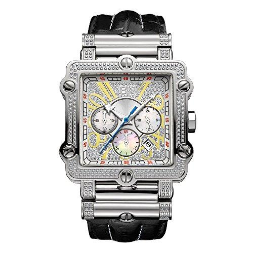 JBW Phantom Herren-Armbanduhr Diamant 46MM Armband Leder Quarz JB-6215-238-B