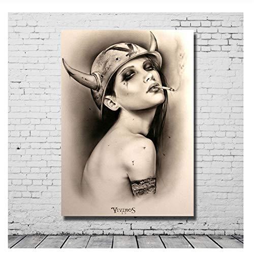 Suuyar Wandkunst Handgemalte Leinwand Ölgemälde Sexi Foto Bild Malerei Für Bar Dekoration Hängen Bilder-20X28 Zoll Ohne Rahmen