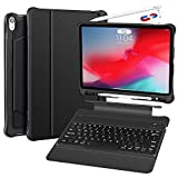 iPad Pro 12.9 Case with Keyboard 2018 3rd Gen - Not Fit 2017/2015 - Detachable Wireless iPad 12.9 inch Keyboard Case - Ultra Slim PU Leather - Shockproof Case - Support Apple Pencil Charging (Black)