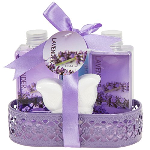 Ultimate Home Spa Gift Basket - Luxury Mediterranean Lavender-Scented Body and Skincare Pack - Luxurious Bath & Body Set For Women - Contains Body Lotion, Bubble Bath, Shower Gel, and Bath Fizzer