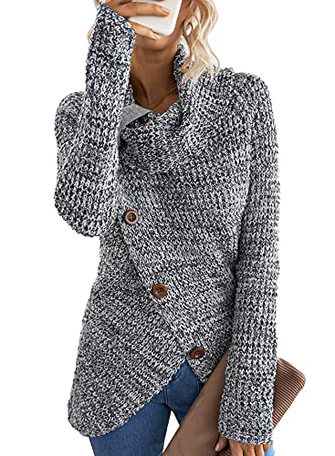 Asvivid Womens Turtle Cowl Neck Sweater Plain Button Asymmetrical Wrap Pullover Lightweight Knitted Sweaters Jumper Tops M Grey