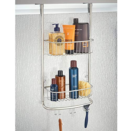 mDesign Modern Metal Bathroom Tub and Shower Caddy, Over Door Hanging Storage Organizer Center with 6 Built-in Hooks and 2 Baskets for Bathroom Shower Stalls, Bathtubs - Satin