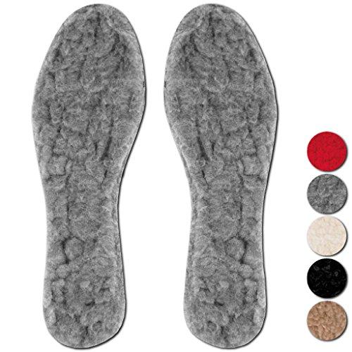 Bestlivings 3er Pack Einlegesohlen Lammflor Schuheinlage Fußwärmer Auswahl: Größe: 37/38, Größe: grau - hellgrau