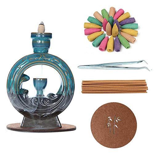 Rückfluss-Räuchergefäß aus Keramik, Räucherstäbchenhalter, Heimdekoration, Handwerk, Geschenk, mit 120...